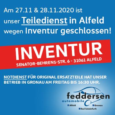 Inventur bei uns in Alfeld