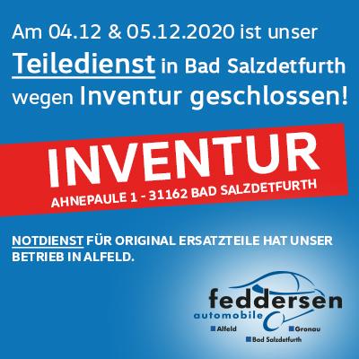 Inventur bei uns in Bad Salzdetfurth